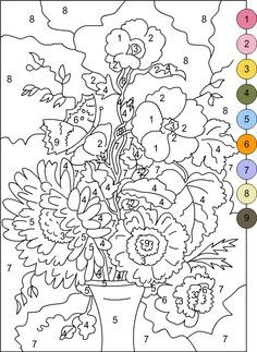 Color by numbers Adult Color By Number, Color By Number Printable, Color By Numbers, Flower Coloring Pages, Coloring Pages For Kids, Coloring Sheets, Coloring Books, Numero D Art, Paint By Number Diy