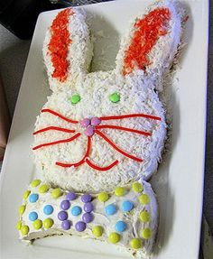 I love this simple easter bunny cake! I make it every year! All you need is two round cake pans!!
