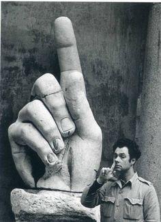 Elliott Erwitt. Self-portrait with finger. Rome, Italy. 1968.
