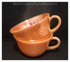 Teacups (2), Peach Luster, by Fire King for Anchor Hocking, Laurel Leaf Pattern by MyKitchenCupboard on Etsy
