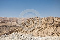Mountains on Sahara desert in Tunisia , Africa. View from the road.