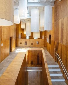 To create a gentle atmosphere for a local kindergarten, #KengoKuma combined a series of small houses into a two-story structure with fabric and wood interiors. : Katsumasa Tanaka. #architecture #interior #design #interiordesign #school #japan #kindergarten #staircase #children... - Interior Design Ideas, Interior Decor and Designs, Home Design Inspiration, Room Design Ideas, Interior Decorating, Furniture And Accessories