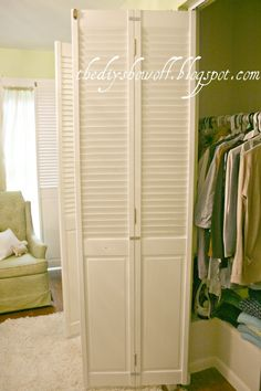 A guest bedroom doubles as a dressing room with some clever and creative DIY organization and storage ideas at DIY Show Off blog.