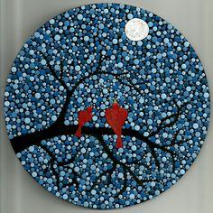 Love birds in the Moonlight - Dot Art - pointillism - acrylic painting - decor - Valentine's day gift Mandala Art, Mandala Canvas, Mandala Painting, Mandala Design, Dot Art Painting, Rock Painting Designs, Ceramic Painting, Painting Patterns, Mandala Painted Rocks