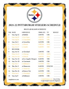 Printable 2021-2022 Pittsburgh Steelers Schedule Pittsburgh Steelers Schedule, Cincinnati Bengals, Black And White Printer, Go Steelers, Family Wall Decor, Best Printers, Steeler Nation, Book Storage, Letter Size Paper