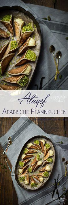 Atayef | Arabische Pfannkuchen gefüllt mit Milchcreme und Pistazien
