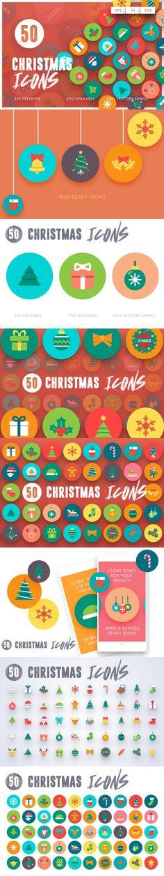 50 Christmas Icons. Christmas Patterns