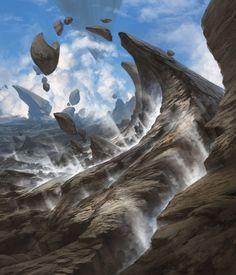 Steam Vents MtG Art from Battle for Zendikar Set by Noah Bradley Fantasy Art Landscapes, Cool Landscapes, Fantasy Landscape, Landscape Art, Landscape Paintings, Fantasy Concept Art, Fantasy Artwork, Fantasy Places, Fantasy World
