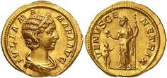Julia Mamaea (222-235). Aureus. IVLIA MA – MAEA AVG. Diademed and draped bust of Julia Mamaea right, her hair rolled in the back. / VENVS GE – NETRIX. Venus standing facing, head left, holding a long sceptre in left hand and globe in right hand; genius right, at her feet to her left.
