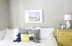 color palette - Wickham Gray, Hawthorne Yellow, navy and white