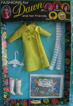 TOPPER: 1971 Fashions for Dawn: Yellow Dress + White Go-Go Boots #Vintage #Toys