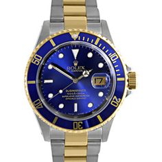 This sophisticated men's Submariner watch from Rolex features a high-grade stainless steel case with a matching 18-karat yellow gold bracelet. The blue dial sets the stage for champagne hands and factory markers for easy time-telling. Case: High Grade Stainless Steel 40 mm Caseback: Screw Down High Grade Steel Bezel: 18-karat Yellow Gold Unidirectional Rotatable Bezel with Blue Metal Disc Dial: Blue Dial Hands: Champagne Color Markers: Factory Calendar: Date Display at 3 o'clock Bracelet…