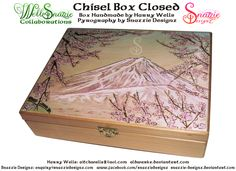 A Japanese ukiyo-e inspired cherry blossom and mountain design burned into the lid of this beautifully hand made chisel box made by aldwarke. The chisel. Handmade Chisel Box - Outside Pyrograph Mountain Designs, Pyrography, Wood Burning, Handmade Crafts, Cherry Blossom, The Outsiders, Woodworking, Deviantart, Paper