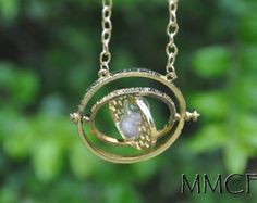 18 K Gold Plated Harry Potter Time Turner Rotating Spins White Hourglass Necklace