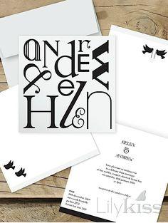 Typography fun - Lilykiss wedding invitation, 'Name game'. Affordable Wedding Invitations, Laser Cut Wedding Invitations, Wedding Invitation Design, Wedding Stationery, Invites, Typography, Game, Flowers, Fun