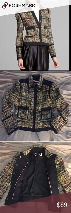 Pink Tartan wool blend tweed jacket Beautiful multi color wool blend/ tweed style Pink Tartan blazer. Canadian designer Kimberly Newport-Mimran showcases amazing attention to detail and blending of fabrics on this blazer. Size 8, 34%cotton, 22% wool, 16% viscose, 12% acrylic, 9% polyester, 7% polyamid Pink Tartan Jackets & Coats Blazers