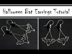 Halloween DIY Jewelry : Wire Wrapped Bat Earrings Tutorial by Jocelyn D So cute