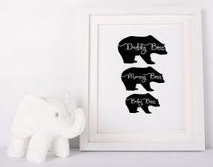 Baby bear wall art, woodland animals home decor, woodland nursery print, black and white printable, woodland baby shower, gift for mum