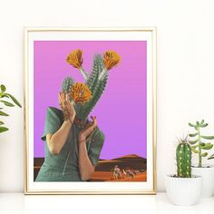 Cactus print  Art poster collage for wall by ArtisticSideOfLife