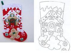ARTE COM QUIANE - Paps,Moldes,E.V.A,Feltro,Costuras,Fofuchas 3D: Molde Bota de Natal de feltro