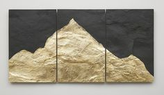 Giovanni Ozzola, Mont Analogue - Canary, 2015 slate with leaf, 58.9 x 90 cm