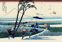 "Hokusai, ""Wind in the paddy fields of Ejiri in Suruga Province"", 1826/ 1833 1600×1088 пикс"