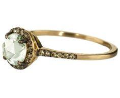 green amethyst & champagne diamond ring