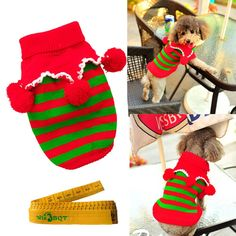 Christmas Turtleneck Knitted Pet Dog Cat Sweater Knitwear Outerwear with Collar and Balls for Dogs and Cats (Red and Green Stripes, S) by Wiz BBQT *** Read more  at the image link. (This is an affiliate link and I receive a commission for the sales)
