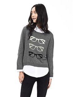 Glasses Intarsia Pullover | Banana Republic