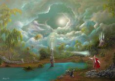 """Abby's Inlet "" fantasy fairytale landscape acrylic painting by artist Philippe Fernandez. Fantasy Fairy, Fantasy, Landscape Paintings, Spiritual Art, Fantasy Art, Beautiful Paintings, Art, Fairytale Art, Beautiful Art"