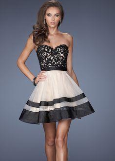 La Femme 19928 - Nude/Black Strapless Lace Short Prom Dresses Online- this is a pretty epic dress.