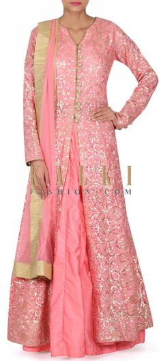 Buy this Pink lehenga matched with long embroidered blouse only on Kalki