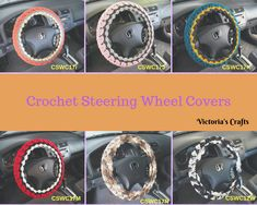 Crochet Steering Wheel Cover, Steering Wheel Cover, Car Accessories - 6 styles - You Choose Crafts To Make And Sell, Car Covers, Wheel Cover, Love To Shop, Diy Craft Projects, Hobbies And Crafts, Car Accessories, Car Stuff, Crochet