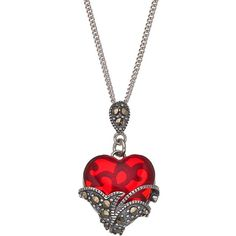 Tori Hill Sterling Silver Red Glass & Marcasite Heart Pendant Necklace ($40) ❤ liked on Polyvore featuring jewelry, necklaces, red, red heart necklace, glass pendants, sterling silver chain necklace, sterling silver pendant necklace and pendant necklace
