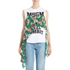 Women's Msgm Floral Fabric Muscle Tee ($385) ❤ liked on Polyvore featuring tops, muscle t shirts, polka dot tops, graphic tops, polka dot tank top and polka dot tank