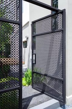White Fence Storage Sheds lattice fence pergola. Front Gates, Entrance Gates, House Entrance, Fence Doors, Fence Gate, Horse Fence, Door Gate Design, Fence Design, Garden Design