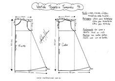 Esquema de molde de Vestido Trapézio tamanho 46.