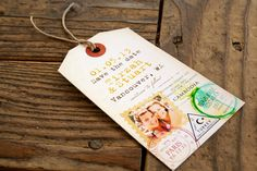 Great alternative to the passport idea for travel-themed weddings!  Passport Stamp - Destination Save the Date Tag - Design Fee. $10.00, via Etsy.