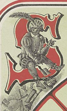De Knecht op de letter S van St. Nicolaas, en we zien diverse soorten speelgoed.