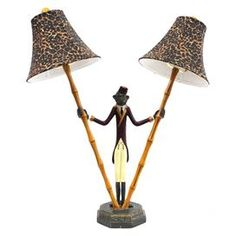 """Tropical-style double lamp with a leopard-print shade.  Product: Table lampConstruction Material: Resin and fabricColor: MultiAccommodates: (2) Bulbs - not includedDimensions: 25"""" H x 21"""" W x 10"""" D"""