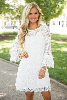 Super white bridal shower dress for bride lace long sleeve ideas Shower Dress For Bride, White Bridal Shower Dress, Shower Dresses, Lace Outfit, Dress Outfits, Fashion Dresses, Short Lace Dress, Lace Dress With Sleeves, White Lace Dresses