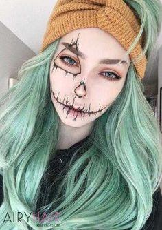 Halloween Inspo, Halloween Makeup Looks, Halloween Cosplay, Halloween Halloween, Halloween Pumpkin Makeup, Facepaint Halloween, Halloween Costumes Scarecrow, Scarecrow Makeup, Pumpkin Costume