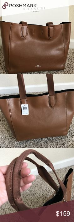 "COACH DERBY TOTE IN PEBBLE LEATHER BAG COACH  100% Authentic, Brand NEW with TAG and never been used!  Details: Color: Saddle / Brown STYLE NO: F58660 Pebble leather Inside zip pocket Magnetic snap closure Unlined Handles with 8 3/4"" drop 17 1/4"" (L) x 10 3/4"" (H) x 5"" (W) Coach Bags Totes"