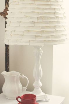 Find and save ideas about Lamp shades on our site. See more ideas about Retro home, Decorating lampshades and Lamp shade makeover. Shabby Chic Interiors, Shabby Chic Living Room, Shabby Chic Decor, Ruffle Lamp Shades, White Lamp Shade, Design Blogs, Room Lamp, Traditional Bedroom, Shabby Vintage