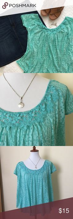 Jessica Simpson Flowy Top Super cute and really soft - green/blue slub cotton/poly blend - cap sleeves - high-low hem - floral detailed neckline - perfect with jeans or shorts😎 the photos that are more green show the true color Jessica Simpson Tops Tees - Short Sleeve