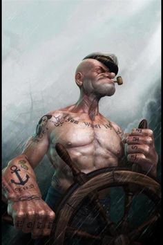 I'm Popeye the Sailor Man, . I'm Popeye the Sailor Man. I'm strong to the finich . Cause I eats me spinach. I'm Popeye the Sailor Man. Fantasy Anime, Fantasy Kunst, Fantasy Art, Art And Illustration, 3d Illustrations, Comic Kunst, Comic Art, Popeye Le Marin, Caricature Art