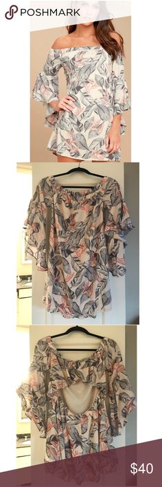 NEW BEIGE FLORAL PRINT OFF-THE-SHOULDER DRESS BRAND NEW WITH TAGS SUN-DRENCHED DAYDREAM BEIGE FLORAL PRINT OFF-THE-SHOULDER DRESS-  SIZE - MEDIUM  Lightweight woven rayon in a grey, blush pink, and coral orange floral print falls from an elasticized, off-the-shoulder neckline into ruffled, three-quarter sleeves and a shift silhouette. Elasticized back cutout and ruffled flounce.  * Unlined. * Self: 100% Rayon. Lining: 100% Polyester. * Hand Wash Cold. * Imported Lulu's Dresses Mini