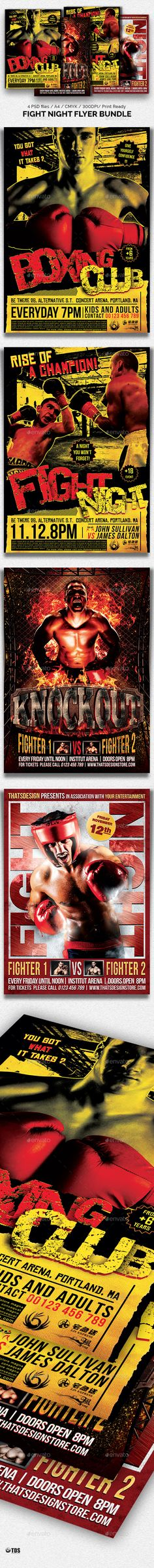 Fight Night Flyer Bundle by lou606 4 Photoshop psd files, 1 help file.A4 size (21x29.7 cm) or (8.3x11.7 inch) with bleed (21.6x30.3 cm) or (8.5x11.9 inch). Print Rea