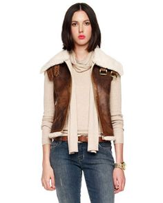 To go with my glasses -- think Goose and Maverick but 20 years earlier. MICHAEL Michael Kors Plush-Line Aviator Vest. Michael Kors Vest, Fall Vest, Fall Bags, Sophisticated Style, Sweater Jacket, Neiman Marcus, Style Me, Personal Style, Menswear