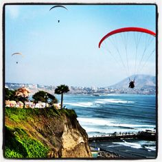 Paragliding over the cliffs of Miraflores, Lima, Peru. Also tried it in BC. I could like this sport
